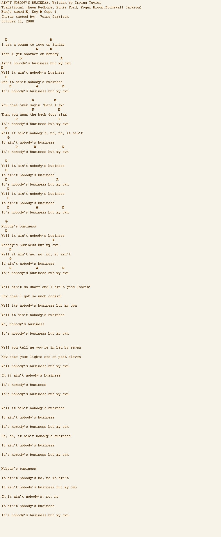 nobody s business but my own chords  guitar tab  and lyrics by